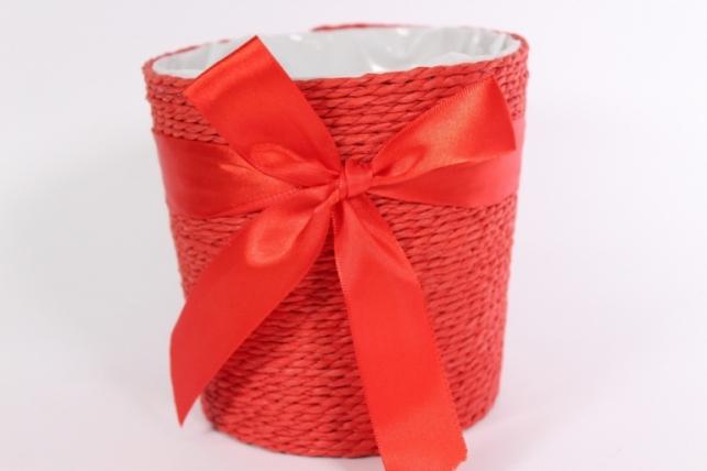 "Кашпо ""Цилиндр"" намотка бумажный шнур Красный d=12, h=12см"