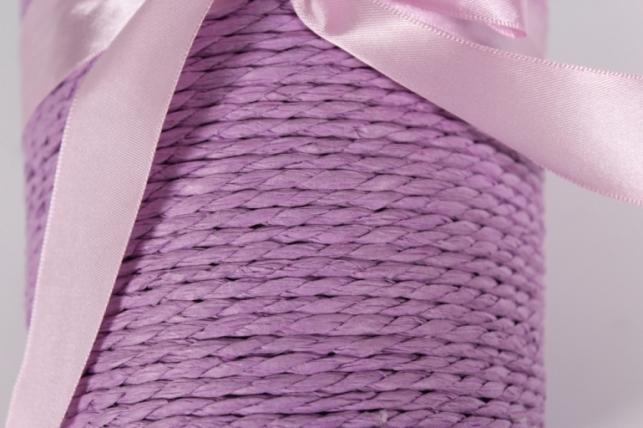 "кашпо ""цилиндр"" намотка бумажный шнур сиреневый d=12, h=12см"