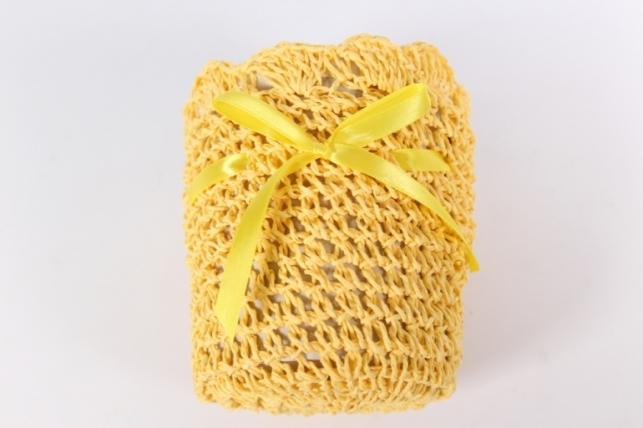 """кашпо """"цилиндр"""" вязанное желтое d=12, h=13см  8182"""