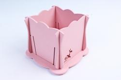 Кашпо деревянное (И) Квадрат Улитка перламутрово-розовая