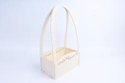 Кашпо деревянное (И) Прямоугольник Нежность молочный