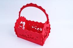 Кашпо деревянное (И) Прямоугольник Птицы красный