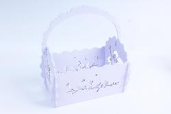 Кашпо деревянное (И) Прямоугольник Птицы нежная сирень