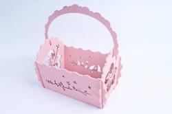 Кашпо деревянное (И) Прямоугольник Птицы перламутрово-розовый