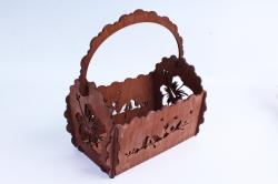Кашпо деревянное (И) Прямоугольник Птицы полисандр
