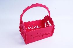 Кашпо деревянное (И) Прямоугольник Птицы розовый