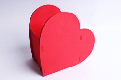Кашпо деревянное (И) Сердце красное