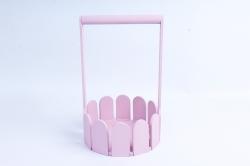 Кашпо деревянное (И) Заборчик круглый средний розовая пенка