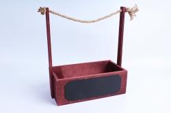 Кашпо деревянное (С) Махагон с джутовой ручкой и грифельной табличкой