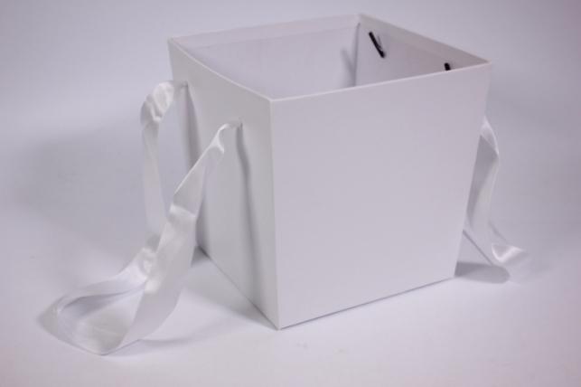 Кашпо для цветов (Квадрат с ручками) белое
