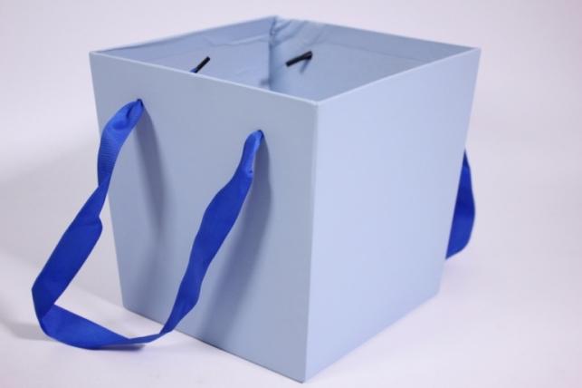 Кашпо для цветов (Квадрат с ручками) голубое