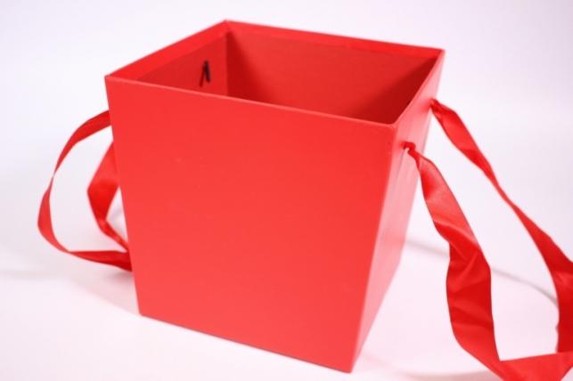 Кашпо для цветов (Квадрат с ручками) красное