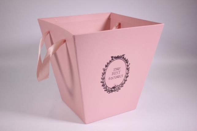 Кашпо для цветов (Трапеция под Цветы) большое розовое