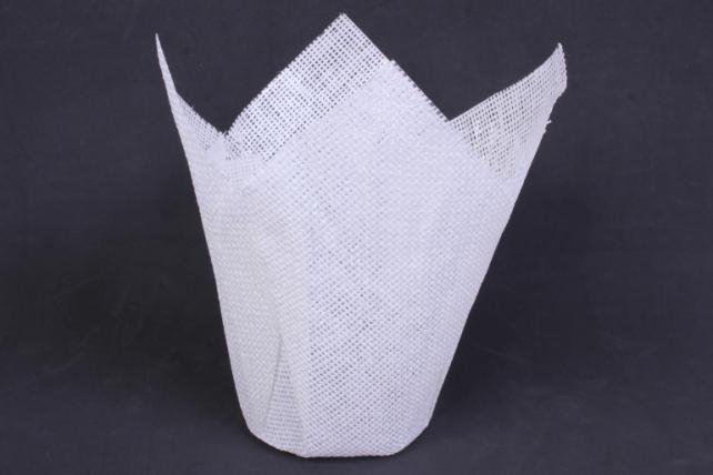 Кашпо из бумажной сетки Белое  (внутри пленка) d=14см