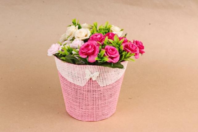 Кашпо из бумажной сетки с Бабочкой Розовое  H2987L MIX