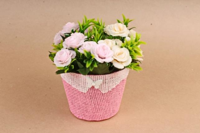 Кашпо из бумажной сетки с Бабочкой Розовое   H2987S MIX