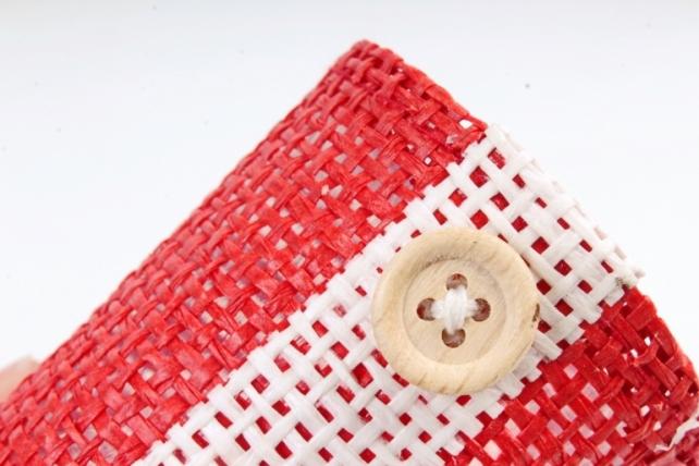 Кашпо из бумажной сетки с пуговкой   Красное  WH14-303 MIX