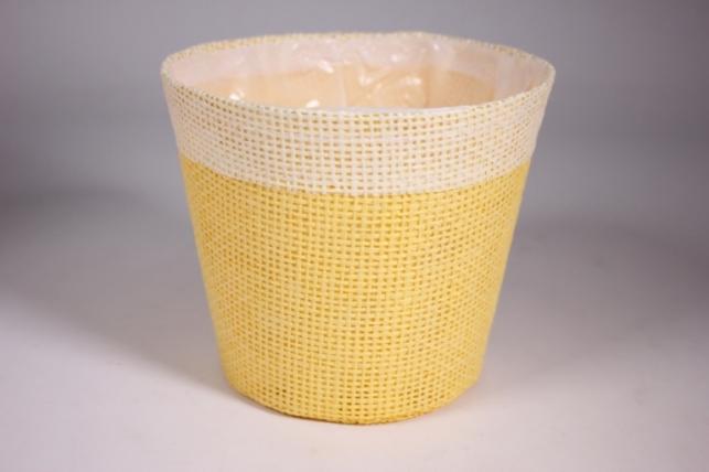 Кашпо из бумажной сетки-внутри пластик Желтое d=13/h=15см WH14-282MIX