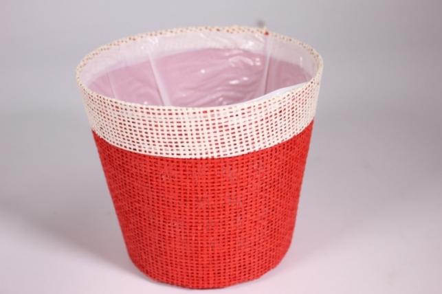 Кашпо из бумажной сетки-внутри пластик Красное d=13/h=15см WH14-282MIX