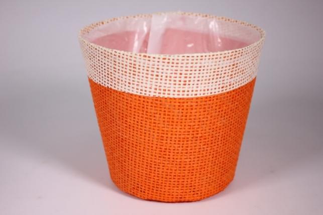 Кашпо из бумажной сетки-внутри пластик Оранжевое d=13/h=15см WH14-282MIX