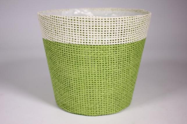 Кашпо из бумажной сетки-внутри пластик Салатовое d=13/h=15см WH14-282MIX