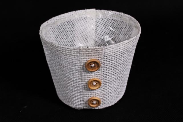 Кашпо из бумажной сетки-внутри пластик белое  WH13-284MIX