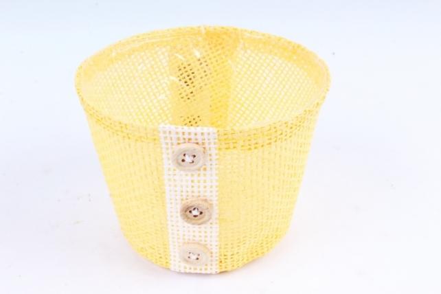Кашпо из бумажной сетки-внутри пластик жёлтое  WH13-284MIX