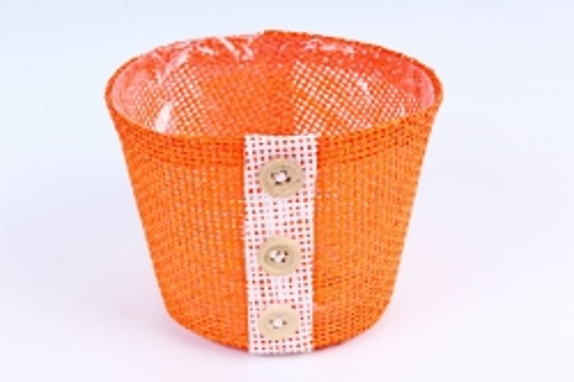 Кашпо из бумажной сетки-внутри пластик оранжевое  WH13-284MIX