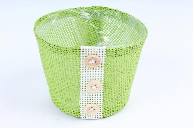 Кашпо из бумажной сетки-внутри пластик салатовое  WH13-284MIX