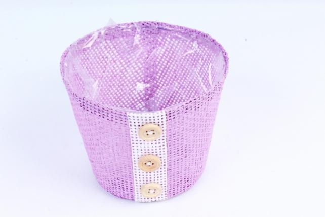 Кашпо из бумажной сетки-внутри пластик сиреневое  WH13-284MIX
