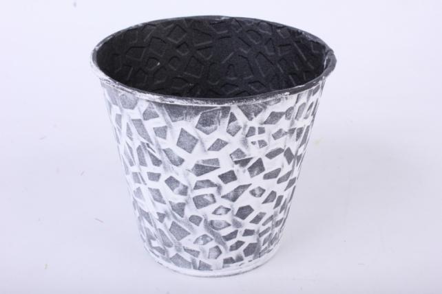 Кашпо из металла Чёрно-белая мозаика h=10 d=7,5/11cm PY7011S