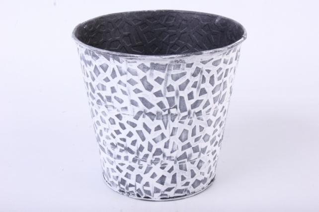Кашпо из металла Чёрно-белая мозаика h=14,5 d=11/16cm PY7049