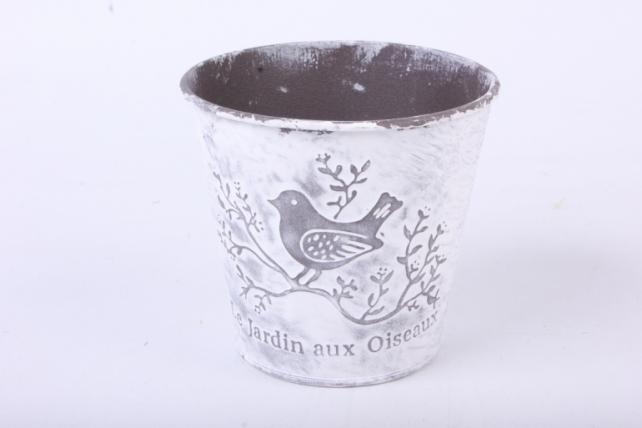 Кашпо из металла Jardin с птичкой h=10 d=7,5/10,5cm PY7006S