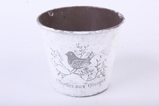 Кашпо из металла Jardin с птичкой h=11 d=9/13cm PY7006