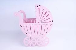 Кашпо Коляска   МДФ 3мм, Розовый пастель, 1 шт.Б149-02-3939