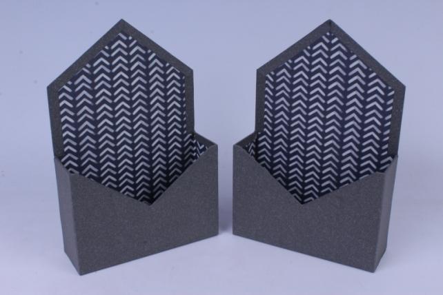 Кашпо Конверт Серое (2 шт в уп) 20x7cm h=13/30cm