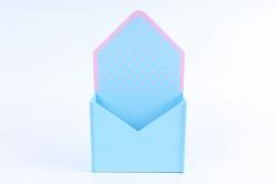 """Кашпо """"Конверт"""" средний, с горошком МДФ-3мм, 1шт.,окраш. голубой-розов   ПУ348-02-07"""