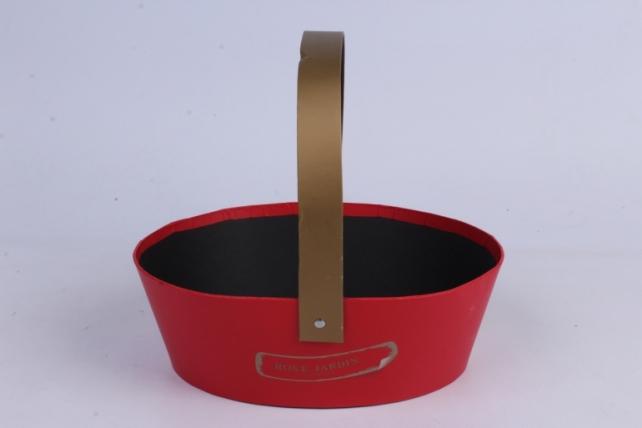 Кашпо-Коробка для цветов Лукошко овальное 24х18.5х8  красная00062047