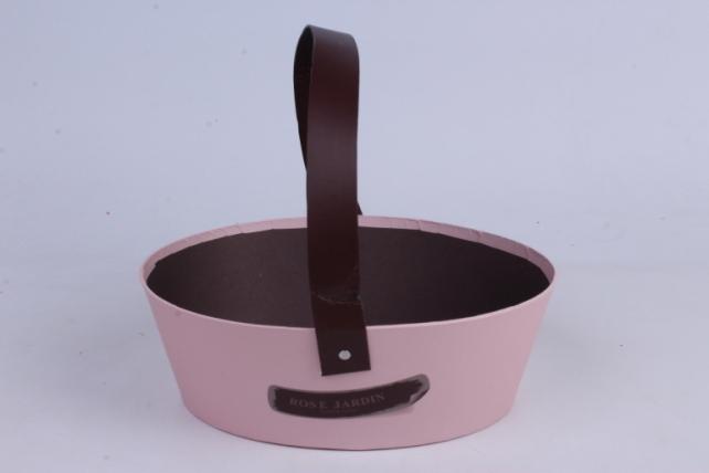 Кашпо-Коробка для цветов Лукошко овальное 24х18.5х8  розовая00062046