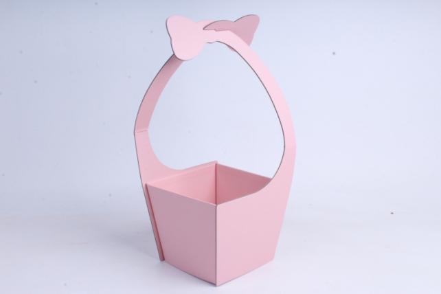 Кашпо-коробка Корзинка с ручкой розовая
