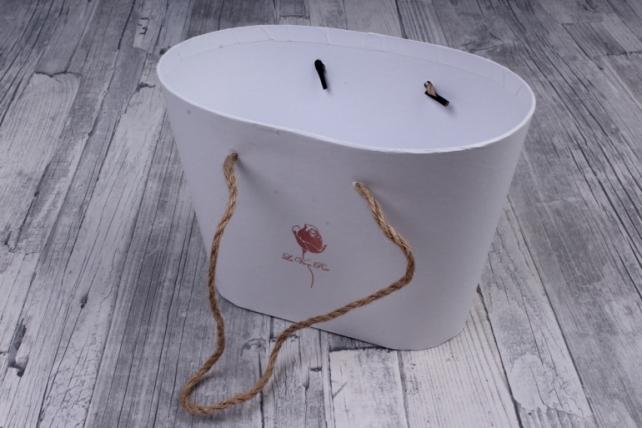 Кашпо-коробка Овал белый 21,5*13,5*15см с ручками