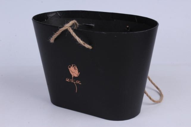 Кашпо-коробка Овал черный 21,5*13,5*15см с ручками
