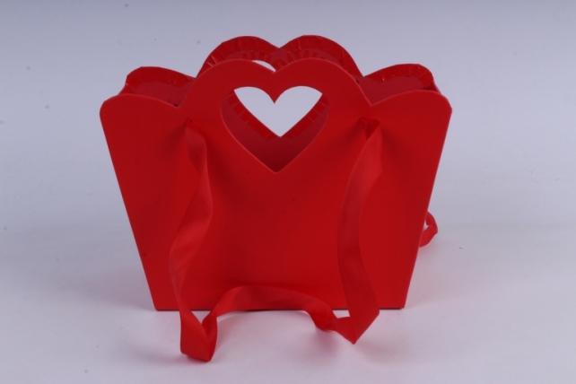 Кашпо-коробка  Сумочка с вырубкой сердечко красная  18x9,5 h=15/19cm