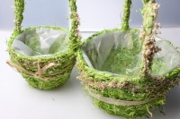 Кашпо корзины трава из 2-х шт. 20х20х11см Разноразмерные