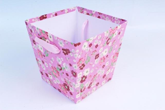 Кашпо Квадрат с ручками цветы на ярко-розовом    S21