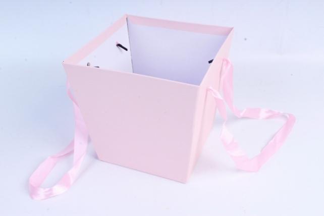 Кашпо Квадрат с ручками розовый   S21