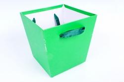 Кашпо Квадрат с ручками зеленый  S21