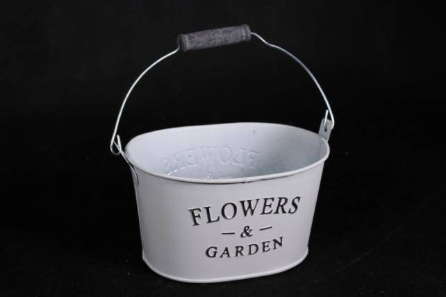 Кашпо металл Овал эмаль белое Flowers  132943  1783