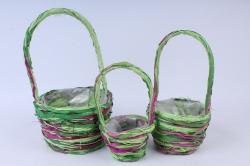 Кашпо набор корзин (ротанг) из 3-х зелёный/фиолетовый