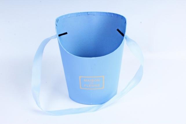 Кашпо Овал с косым срезом малое голубое  К210